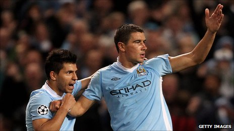 Sergio Aguero and Aleksandar Kolarov