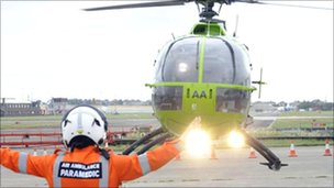 A Great Western Air Ambulance helicopter landing