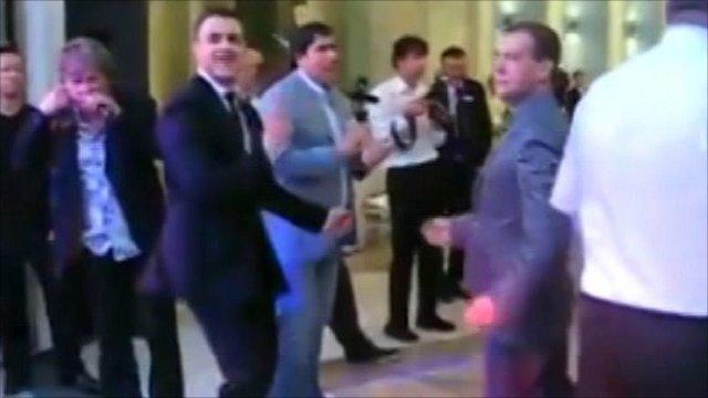 President Dmitry Medvedev on the dance floor