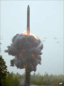 A rocket launch from Plesetsk, northern Russia