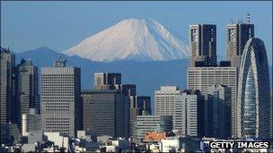 Mount Fuji rising behind Tokyo