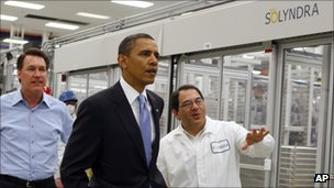 President Barack Obama visits Solyndra in May 2010