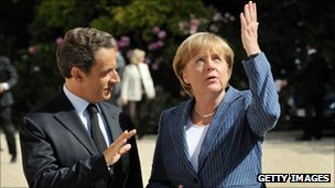 President Nicolas Sarkozy and German Chancellor Angela Merkel