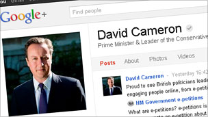 David Cameron's Google+ page