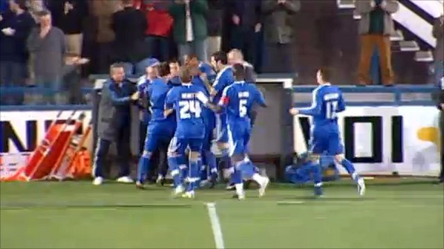 Macclesfield celebrate Ben Tomlinson's early strike