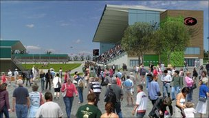 Artist's impressions of the refurbished Barnet Copthall stadium