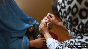 Afghan child receives polio vaccine