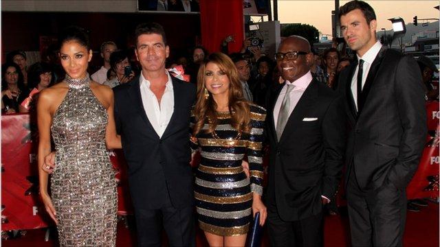 Scherzinger, Simon Cowell, Paula Abdul, L.A. Reid and Steve Jones