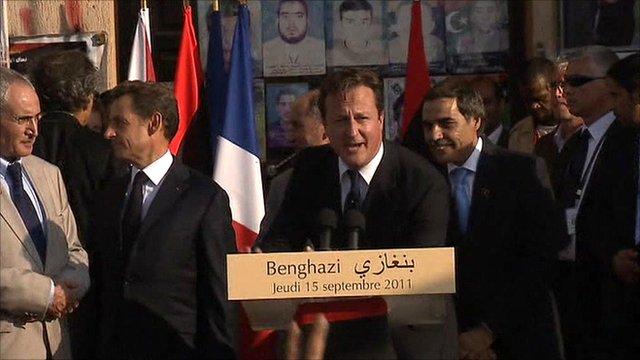 UK Prime Minister David Cameron in Benghazi