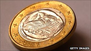 Detail view of a Greek one Euro coin