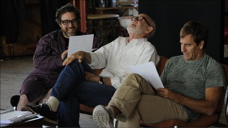 Andy Nyman, director Frank Oz and Scott Bakula