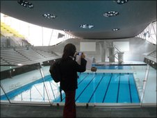 Fatima having a sneak look at the London 2012 Aquatics Centre
