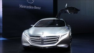 Mercedes F125 concept fuel cell hybrid car on display at Frankfurt