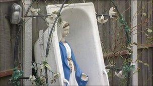 Religious statue at Dale Farm