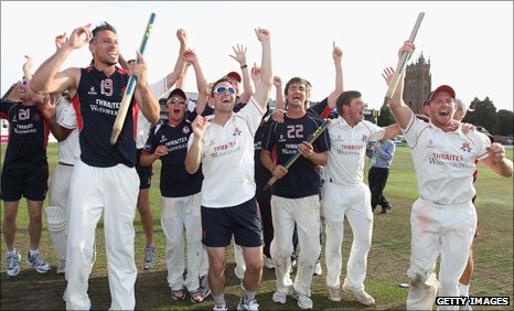 Lancashire celebrate winning the title