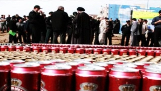 Bootlegged alcohol confiscated by Iranian authorities.