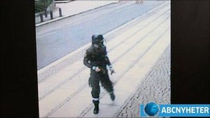 Anders Behring Breivik on surveillance video. Screen grab from ABC Nyheter