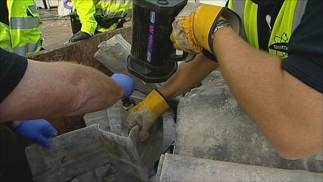 Police check for stolen metals at a scrap metal dealers in Nottinghamshire