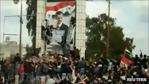 Video grab of protest in Deraa, March 2011