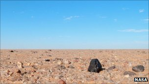 A photo of the 2008 TC3 meteorite in the Sudanese desert