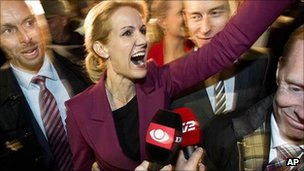 Helle Thorning-Schmidt celebrates in Copenhagen. 15 Sept 2011