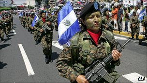 Women soldiers march on El Salvador's independence day.