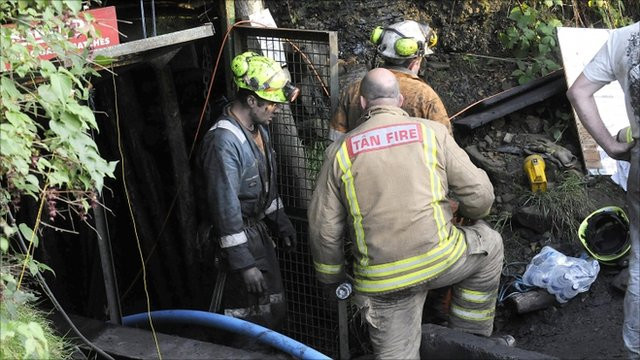 Emergency workers at the scene in Gleision Colliery near Swansea