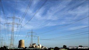 Power plant under blue skies