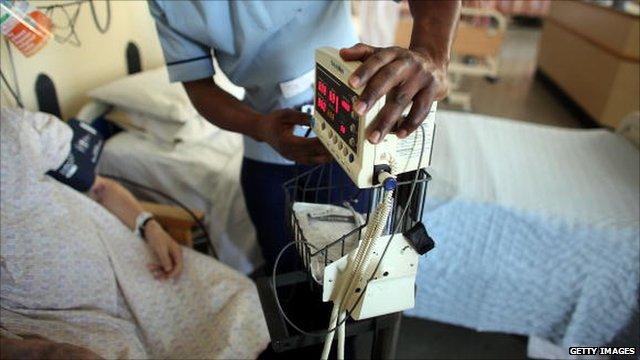 A nurse attending a patient