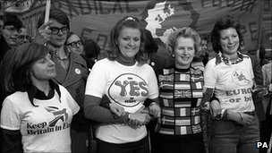 Margaret Thatcher in European colours in 1975