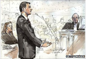 Artist&#039;s impression of Jerome Kerviel testifying in a French court