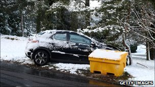 crashed car surrounded by snow