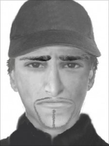 An e-fit image of the suspected killer of Dr Imran Farooq