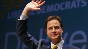 Lib Dem leader Nick Clegg at the 2010 autumn conference
