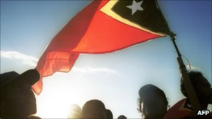 East Timorese celebrating independence in 2002