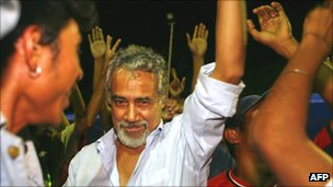 Xanana Gusmao celebrates with supporters after first round of 2007 presidential election, in which he did not stand