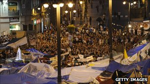Protesters encamped at Puerta del Sol in Madrid