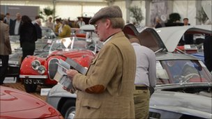 Classic car enthusiasts at the Goodwood Revival