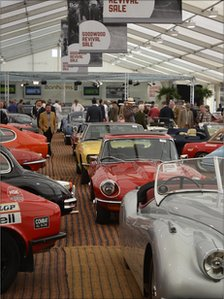 Classic cars on display at the Goodwood Revival