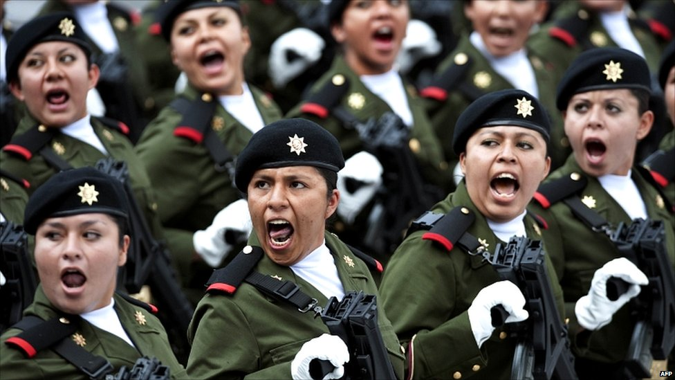 Women soldiers marching in the Independence Day parade in Mexico City