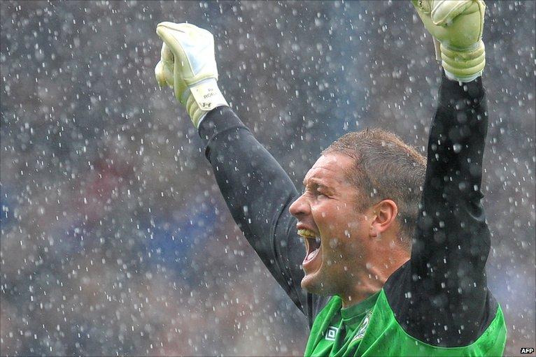 Paul Robinson celebrates for Blackburn