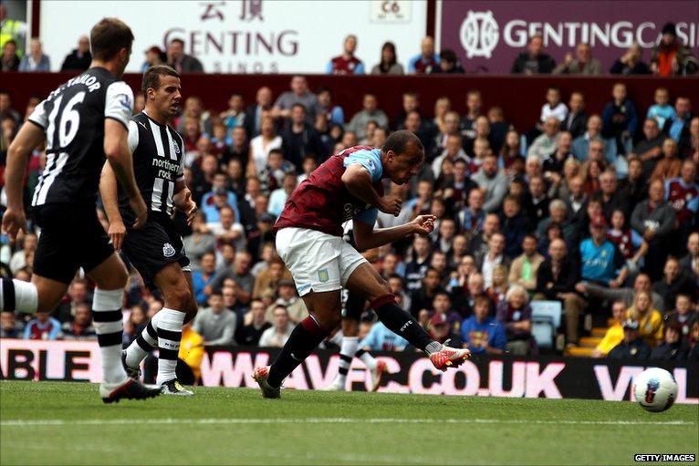 Gabby Agbonlahor scoring for Aston Villa