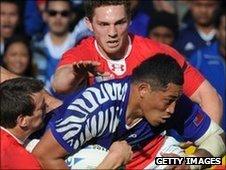 Anthony Perenise scores Samoa's try