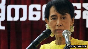 Burmese pro-democracy leader Aung San Suu Kyi delivering a speech on 15 September