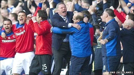 The Rangers bench celebrate the victory over Celtic
