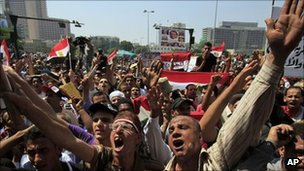 Egyptian protesters in Tahrir Square, Cairo, 16 Sept