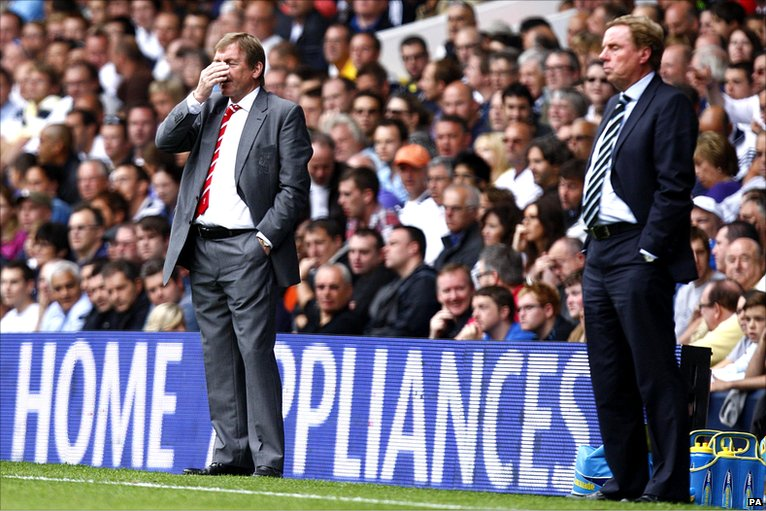Kenny Dalglish winces on the Spurs' touchline
