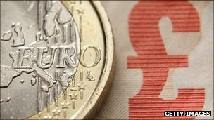 Euro coin and pound note
