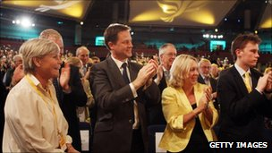 Nick Clegg applauds Vince Cable's speech