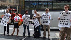 Protest outside Cipriani restaurant in New York, the venue for Gulnara Karimova's fashion show